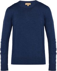 Burberry - Check Panel Merino Wool Jumper - Lyst