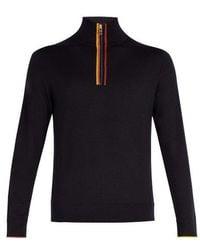 Paul Smith - High-neck Half-zip Merino-wool Sweater - Lyst
