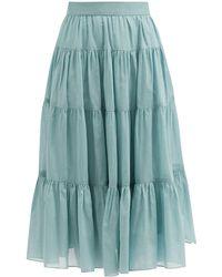 Loup Charmant Fontelli Tiered Organic-cotton Midi Skirt - Blue