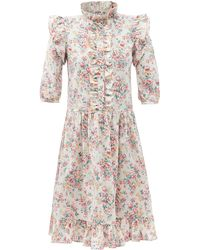 BATSHEVA クロード フローラル コットンキャンバスドレス - ピンク