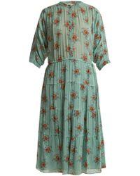 MASSCOB - Rose-print Button-front Silk Dress - Lyst
