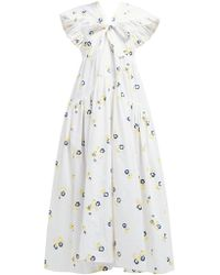 Cecile Bahnsen Ricca Bow Trim Embroidered Cotton Blend Dress - White