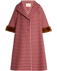 Fendi - Shearling-trimmed Checked Wool Coat - Lyst