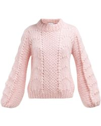 Ganni Julliard Mohair And Wool Blend Sweater - Pink