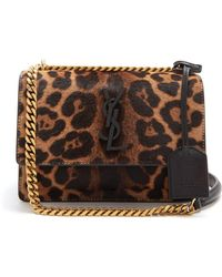 Saint Laurent - Sunset Small Leopard-print Calf-hair Bag - Lyst