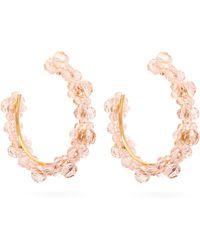 Simone Rocha Large Crystal-daisy Hoop Earrings - Pink