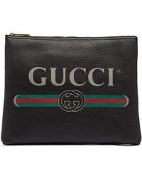 Gucci - Logo-print Medium Leather Pouch - Lyst