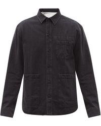 Officine Generale Tony Garment-washed Denim Overshirt - Grey