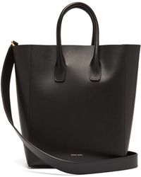 20687d677e07 Lyst - Mansur Gavriel Large Red-Lined Leather Tote in Black