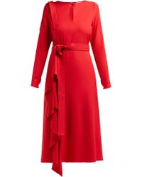 OSMAN Ellen Draped Crepe Dress - Red