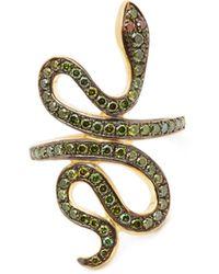 Ileana Makri Slither Snake Diamond & 18kt Gold Ring - Metallic