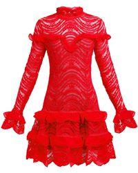 Jonathan Simkhai Ruffled Lace Dress - Red