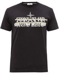 Stone Island マッシュド ロゴ コットンtシャツ - ブラック
