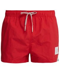 Thom Browne Tricolour Stripe Swimshorts - Red