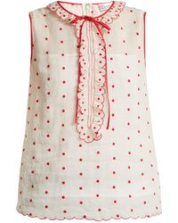 RED Valentino - Polka-dot And Ruffle-embellished Sleeveless Top - Lyst