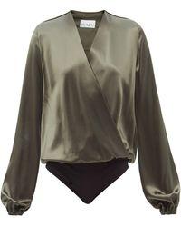 Raey - V-neck Silk-satin Wrap Bodysuit - Lyst