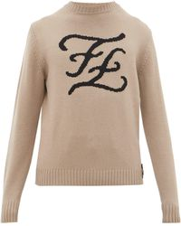 Fendi - Karligraphy Ff-intarsia Cashmere Sweater - Lyst