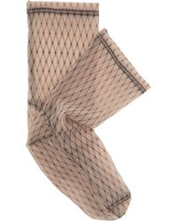Darner - Fishnet-print Mesh Ankle Socks - Lyst