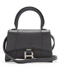 Balenciaga Hourglass Nano Grained-leather Bag - Black