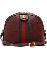 8ce7e9ecf4 Gucci - Ophidia Small Web Striped Leather Cross Body Bag - Lyst