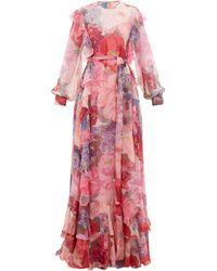 Valentino Robe de soirée en mousseline imprimée à ceinture - Rose