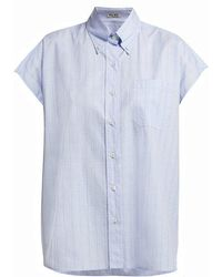 Miu Miu - Plaid Cap Sleeved Cotton Shirt - Lyst