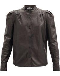 FRAME チャーリー レザーシャツ - ブラック