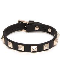 Valentino - Rockstud Embellished Leather Bracelet - Lyst