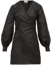 Ganni Satin-jacquard Mini Wrap Dress - Black