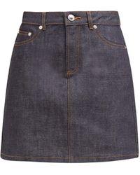 A.P.C. Jupe Standard Raw-denim Mini Skirt - Blue