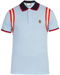 965163b5e Gucci Cotton Polo With Web Collar in Blue for Men - Save 12% - Lyst