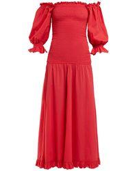 RHODE Eva Smocked Off-the-shoulder Cotton Dress - Red