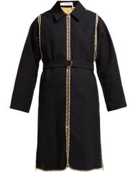 See By Chloé Check Trimmed Cotton Trench Coat - Black
