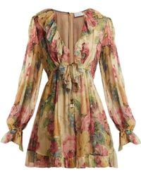ccb573c1b5 Zimmermann Open-back Floral-print Cotton And Silk-blend Playsuit in ...