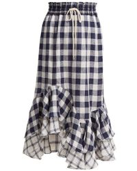 Lee Mathews - Nellie Gingham And Checked Linen Skirt - Lyst