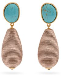 Lizzie Fortunato - Turquoise Woven Cord Drop Earrings - Lyst