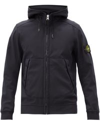 Stone Island Soft Shell-r Jersey Hooded Jacket - Blue