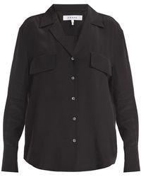 FRAME シルク Vネックシャツ - ブラック