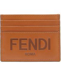 Fendi ロゴ レザーカードケース - ブラウン