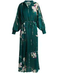 Carine Gilson - Floral Print Silk Satin Kaftan - Lyst