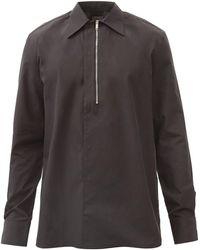 Givenchy ハーフジップ コットンポプリンシャツ - ブラック