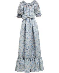 Luisa Beccaria Ruffled Floral Print Silk Gauze Gown - Blue
