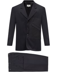 Maison Margiela - カットオフエッジパッチ ウールスーツジャケット - Lyst