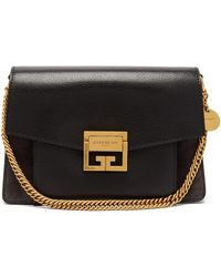 Givenchy Gv3 Small Suede And Leather Cross-body Bag - Black