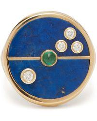 Retrouvai Compass Lapis, Diamond & 14kt Gold Ring - Blue