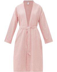 Domi - Striped Cotton Robe - Lyst