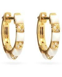 Raphaele Canot Diamond, Agate & 18kt Gold Hoop Earrings - Metallic