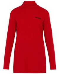 Vetements Oversized Ribbed Wool Blend Roll Neck - Red