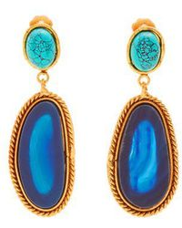 Sylvia Toledano - Island Turquoise And Agate Drop Clip-on Earrings - Lyst