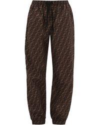 Fendi Ff Logo Track Pants - Brown